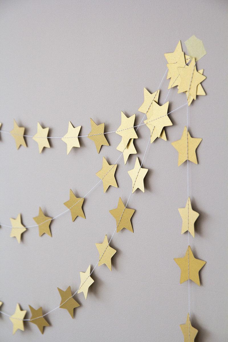 Mariage - Twinkle twinkle little star garland, metallic gold paper wedding garland, christmas garland decor, nursery garland, holidays nursery decor