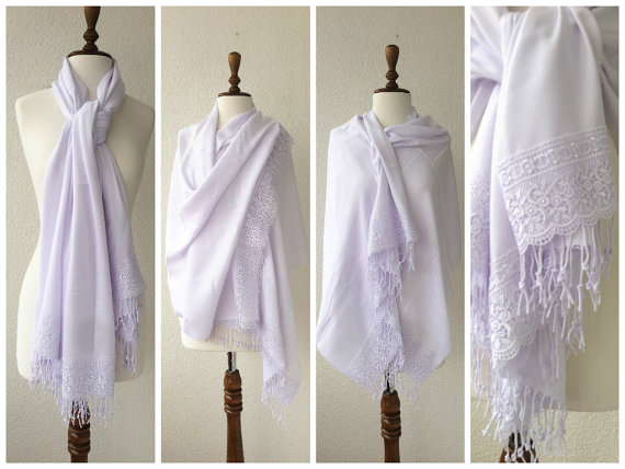 Mariage - White Wedding Shawl, Brides Shrug, bridal scarf, Bridesmaid Gift, best seller