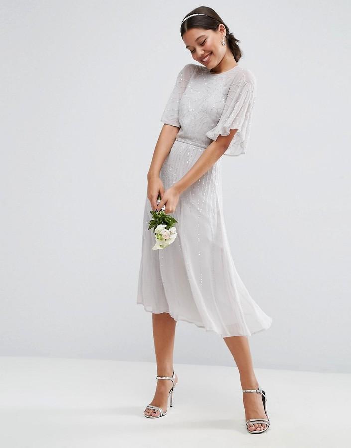 Mariage - ASOS WEDDING Embellished Flutter Sleeve Midi Dress