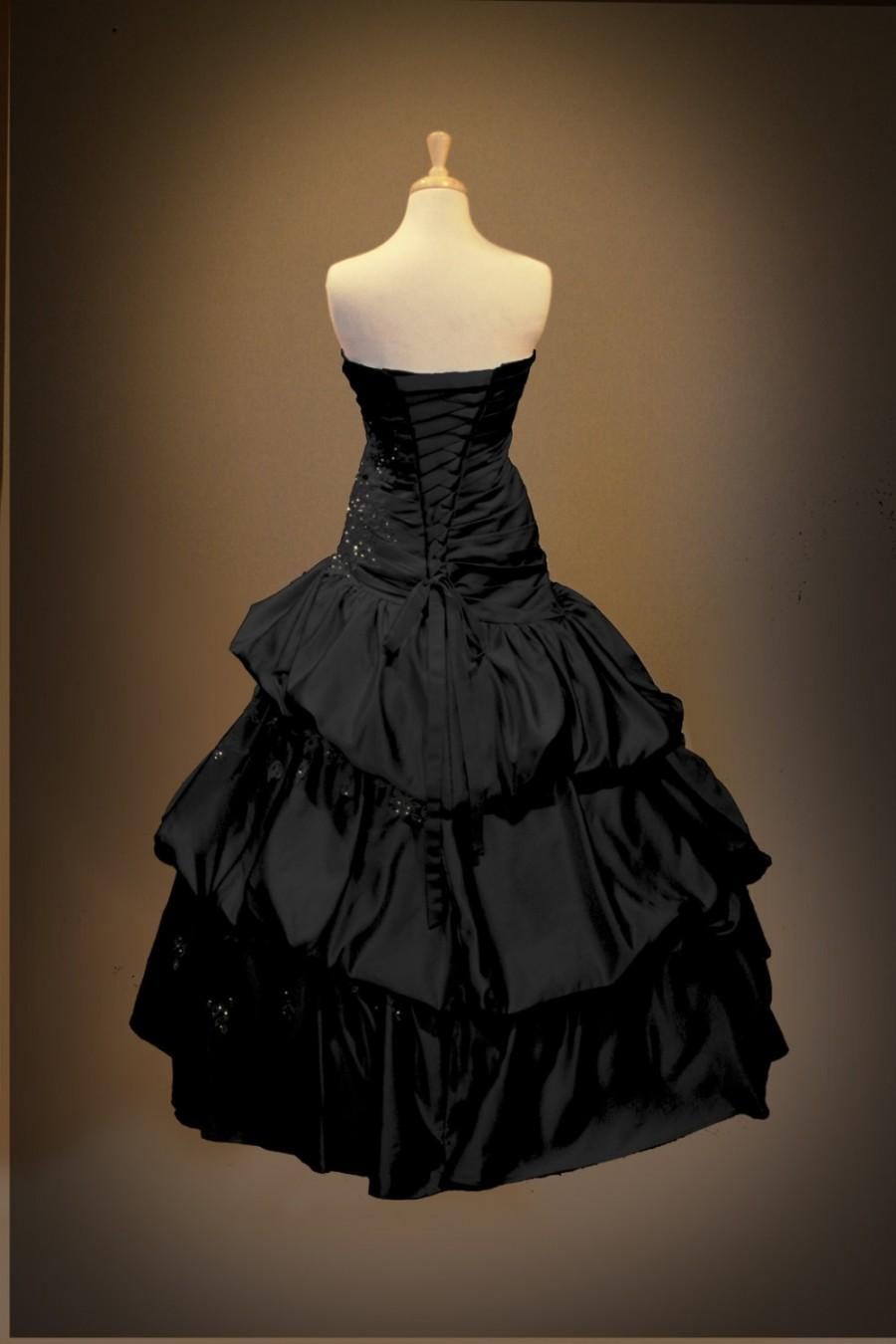 Mariage - Black Gothic Wedding Dress Ball Gown