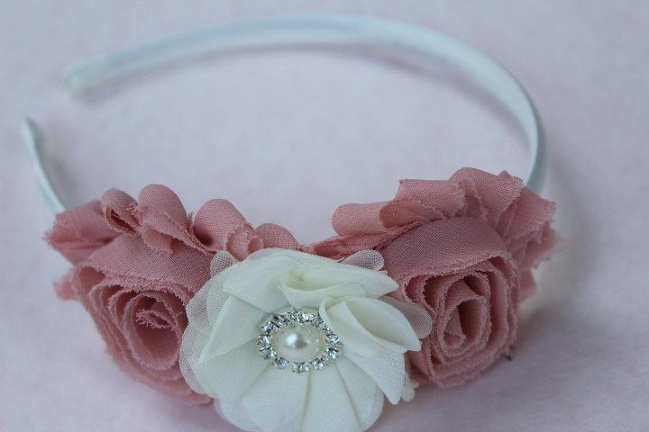 Boda - Dust pink headband ivory flower girl headband blush pink and ivory wedding headband plasti headband toddler hard headband girls headband