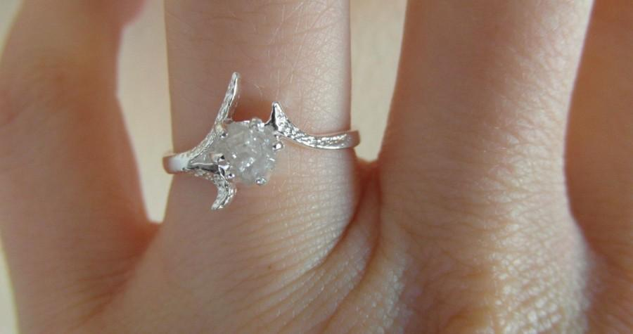 Wedding - 14 K solid gold- Snow white-Raw Rough Diamond - Solitaire- promise-one of a kind engagement ring- Any size- Made to order