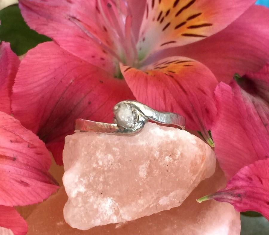 Hochzeit - Natural Rough Diamond Ring, Raw Diamond Ring, Promise Ring, Alternative Engagement Ring,Recycled Silver,Natural Uncut Diamond Engagment Ring