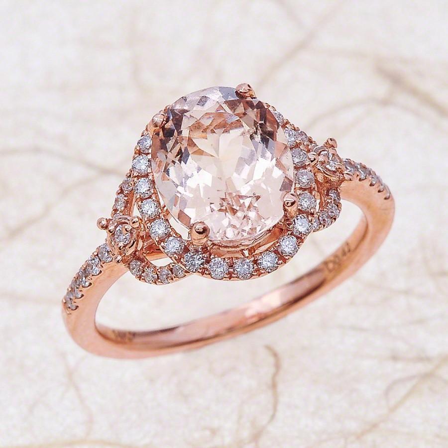 Wedding - Morganite Engagement Ring - Rose Gold Engagement Ring - Morganite 9x7 Rose gold 14K Solid Gold