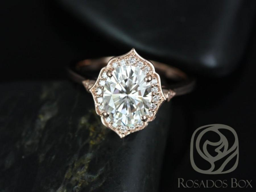 Mariage - Mae 9x7mm 14kt Rose Gold Oval FB Moissanite and Diamond Halo WITHOUT Milgrain Engagement Ring (Other metals and stone options available)