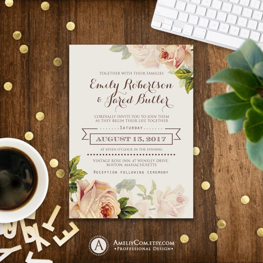 Floral Wedding Invitation Printable Gentle Cream Roses Rustic Shabby ...