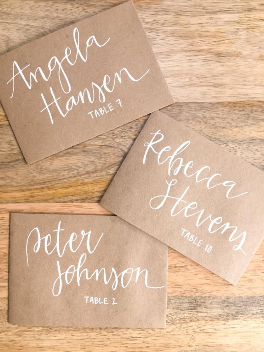 Mariage - Wedding/Event Place Cards - White on Kraft Paper