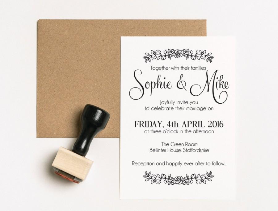 Mariage - Wedding Invitation Suite, Wedding invitation Stamp Set, Save the Date Stamp Set, Wedding Invitation Stamp, Engagement Rubber Stamp, (03.007)