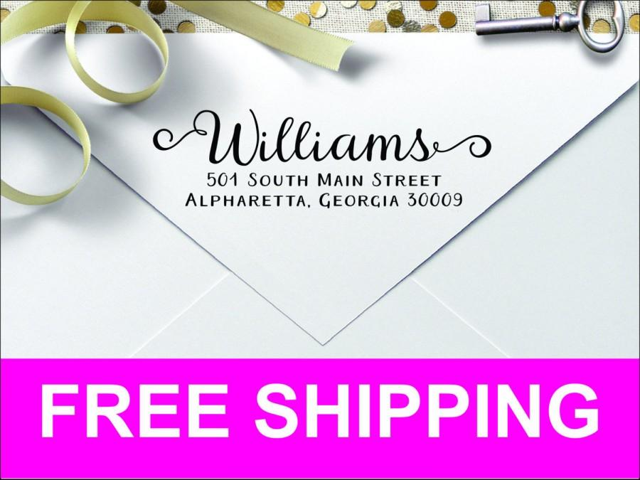 Wedding - Curly Ends Custom Personalized Self Inking Return Address Stamp CRL2770