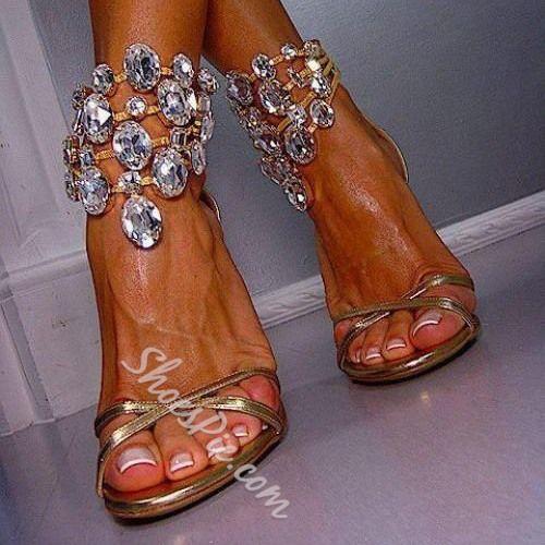 Hochzeit - Huge Rhinestone Ankle Wrap Dress Sandals