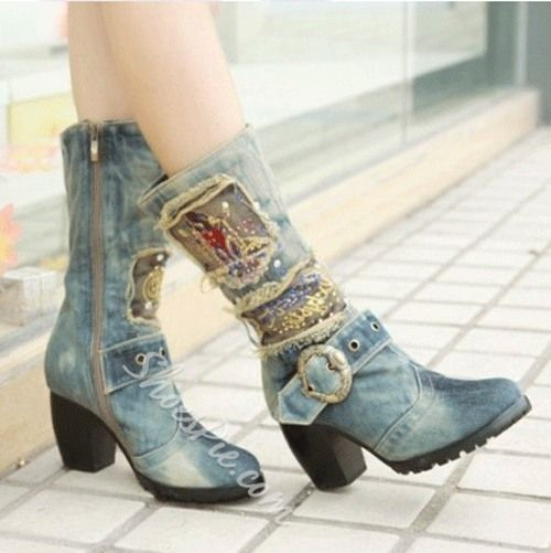 Свадьба - Unique Print Denim Chunky Heel Boots