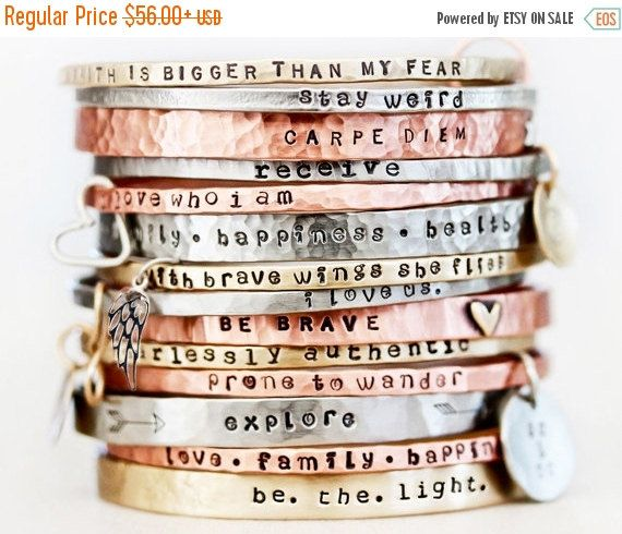 Свадьба - Power Phrase Bangle Bracelet