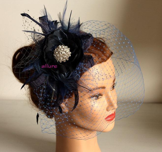 Свадьба - Fabulous BIRDCAGE VEIL , navy blue wedding headpiece. Blue fascinator for bridesmaid. Amazing wedding hair flower.