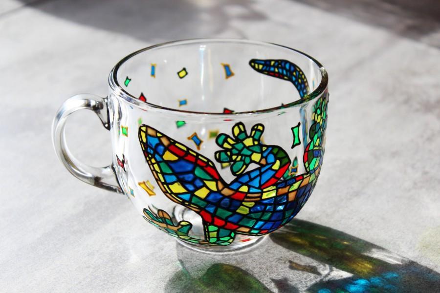 زفاف - Funny Coffee mug Big Mug Hand painted Glass mug Large Mugs Colorful Mug Mosaic Gift Mug Multicolored Salamander Mug Handmade Large Cup