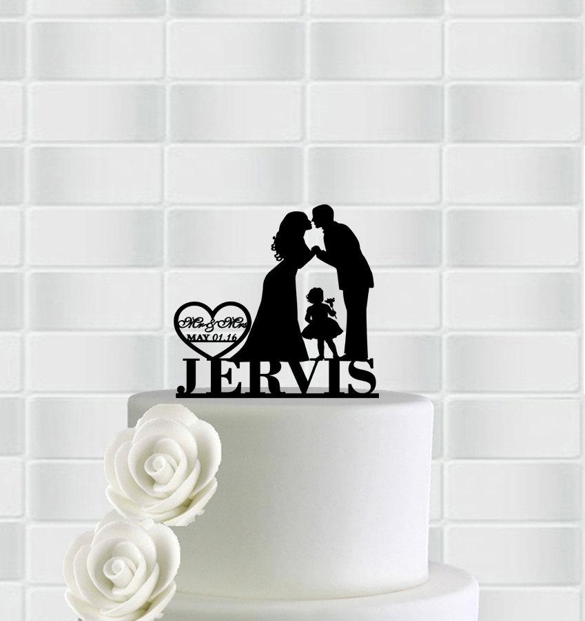 Family Wedding Cake Topper With Little Girl,Bride Groom Silhouette ...