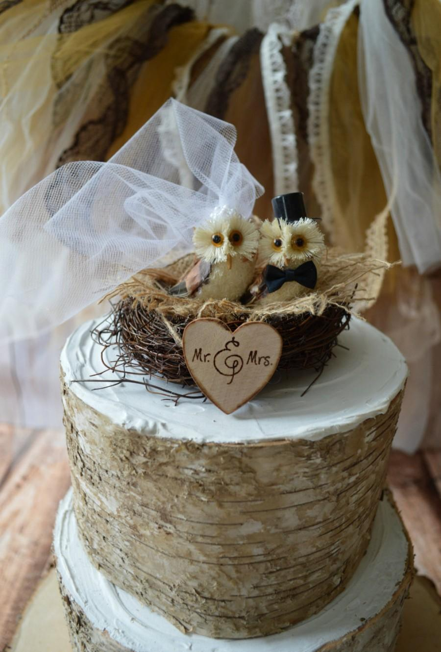 Mariage - country-woodland-snow-barn-rustic wedding-Owls wedding cake topper-Barn owls cake topper-Rustic cake topper-Rustic wedding-OWLS-snow owls