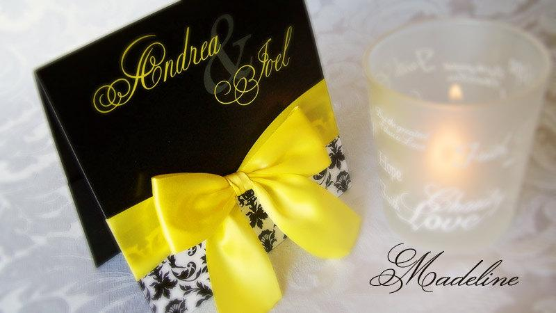 50 Black Yellow Pocket Wedding Invitation With Satin Bow And