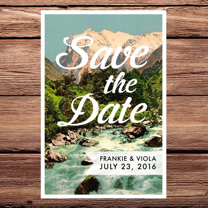 زفاف - Camp Wedding Printable Save the Date Rustic Vintage Style Wedding Outdoor Wedding Mountain Stream Lake Giant Sequoia Pine Forest