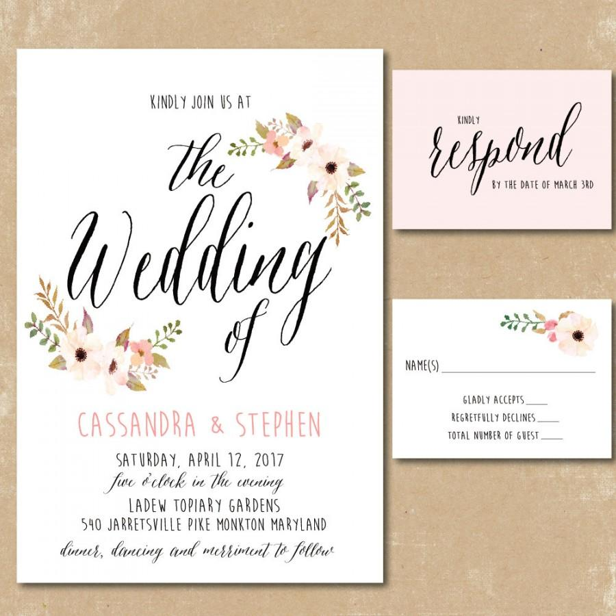 Printable Floral Invitations, Watercolor Wedding Invitation, Print ...