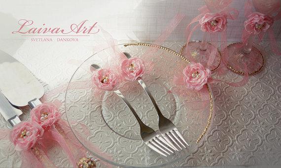 زفاف - Wedding Forks Wedding Fork Set Pink and Gold Wedding Forks