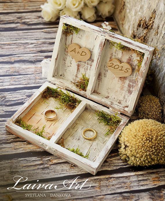 Boda - Personalized Wedding Ring Bearer Pillows Ring Pillow Box Birch Bark Rustic Vintage Wooden