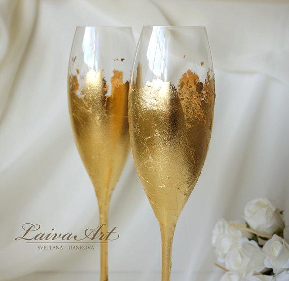 Wedding - Gold Wedding Champagne Flutes Wedding Champagne Glasses Gatsby Style Wedding Boho Wedding Art Deco Wedding