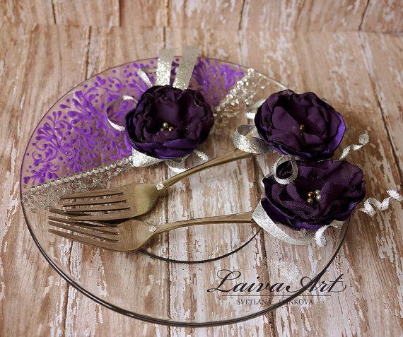 Mariage - Wedding Forks Wedding Fork Set Purple and Silver Wedding Forks