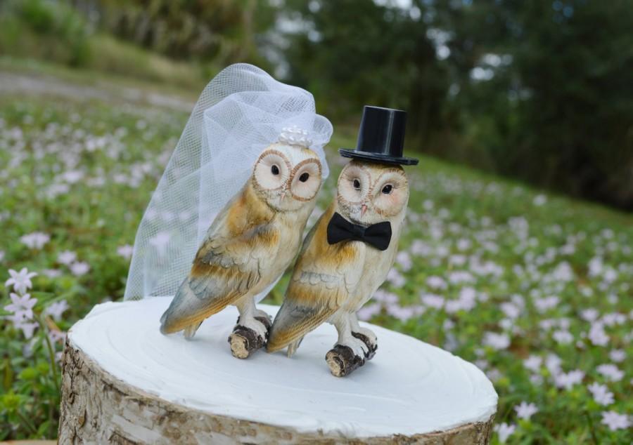 Mariage - Owls wedding cake topper-Barn owls cake topper-Rustic cake topper-Rustic wedding-OWLS-snow owls