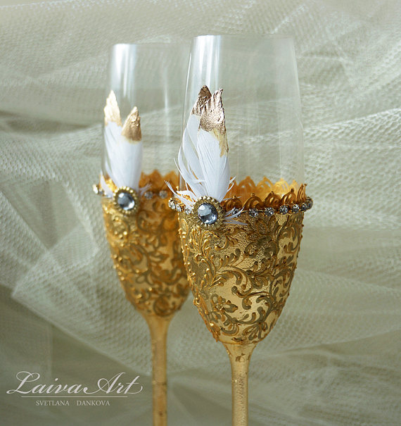 Wedding - Gold Wedding Champagne Flutes Wedding Champagne Glasses Gatsby Style