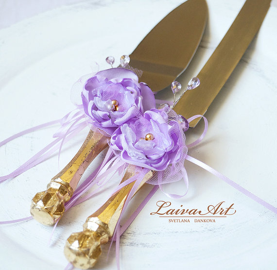 Wedding - Wedding Cake Server Set & Knife Wedding Cake Knife Gold Lavender Wedding Lilac Wedding Cake Cutting Set Wedding Cake Cutter