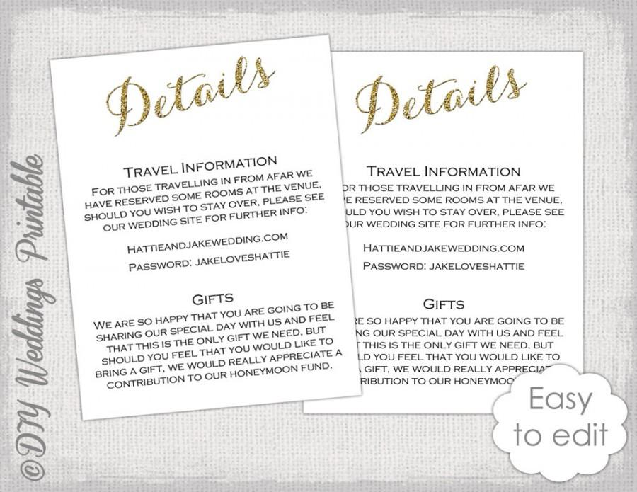 Wedding Enclosure Template Diy Calligraphy Gold Glitter Printable Information Card Digital Details You Edit Word