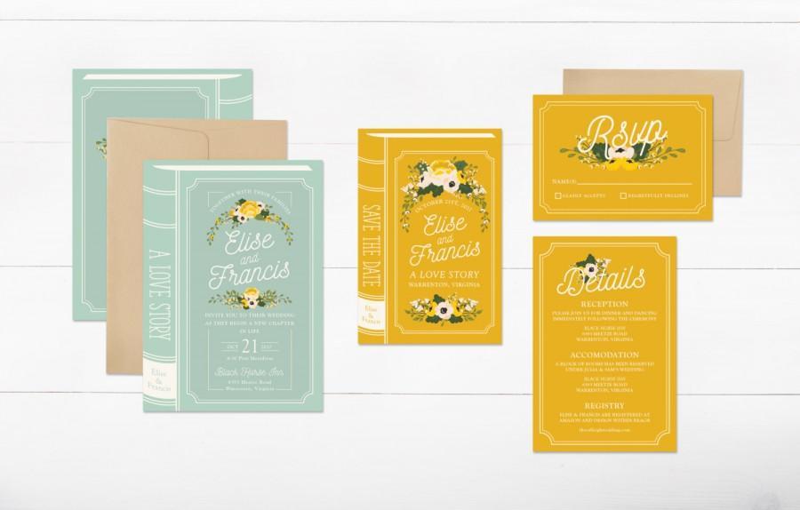 Hochzeit - book wedding invitation suite, printable wedding invitation, fairytale wedding invitation set, diy floral wedding invite, digital