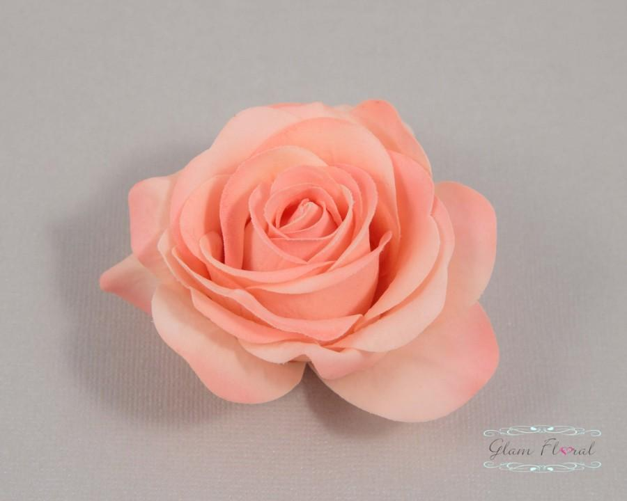 Mariage - Coral Peach Rose Hair Clip, Real Touch Wedding Hair Fascinator Hair Head Piece. bridesmaids, prom Real Touch Flowers. Tea Rose Collection