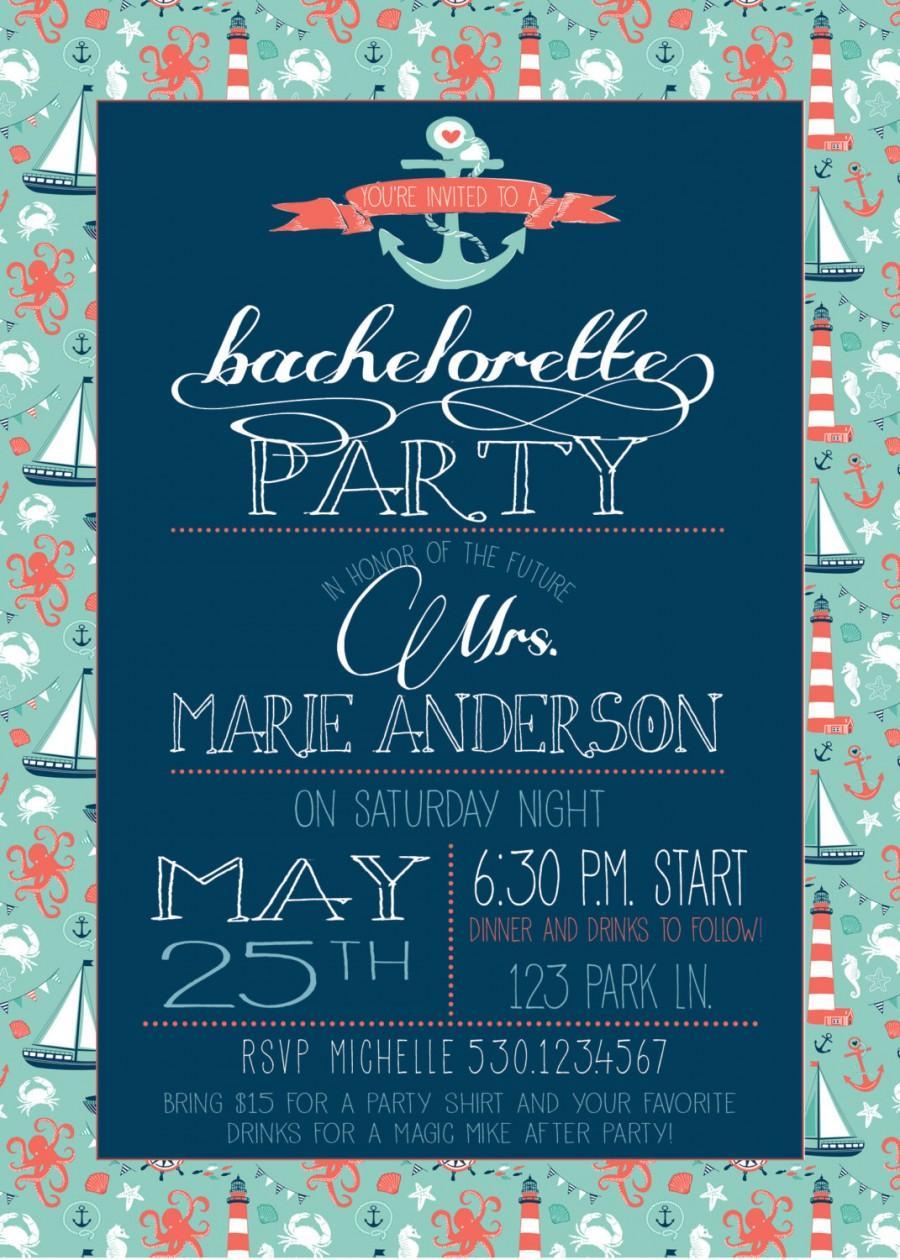 Mariage - Nautical Bachelorette Party Invite