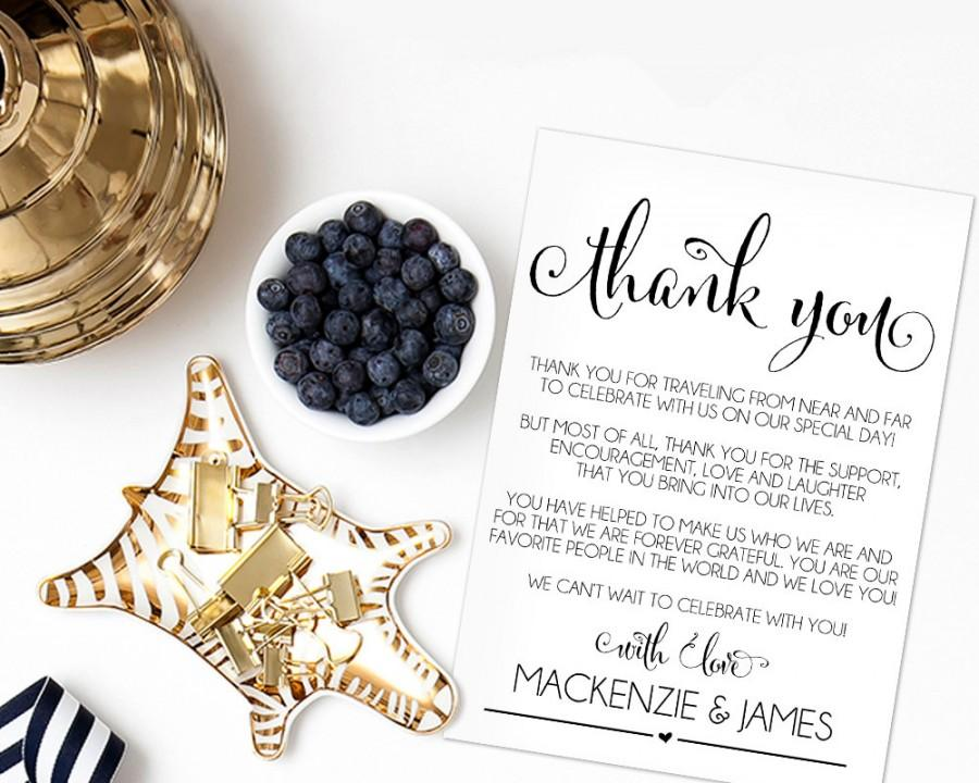 Mariage - Wedding Thank You Cards, Thank You Printable, Editable Template, Rustic Wedding, DIY, Printable Template, PDF Instant Download, WBWD4