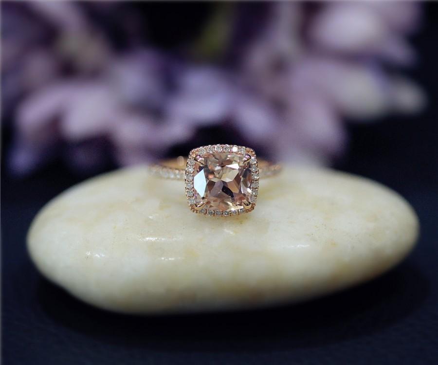 زفاف - Engagement Ring 8mm Cushion Cut Natural VS Morganite Ring Solid 14K Rose Gold Ring Diamonds Ring Wedding Ring Promise Ring Anniversary Ring