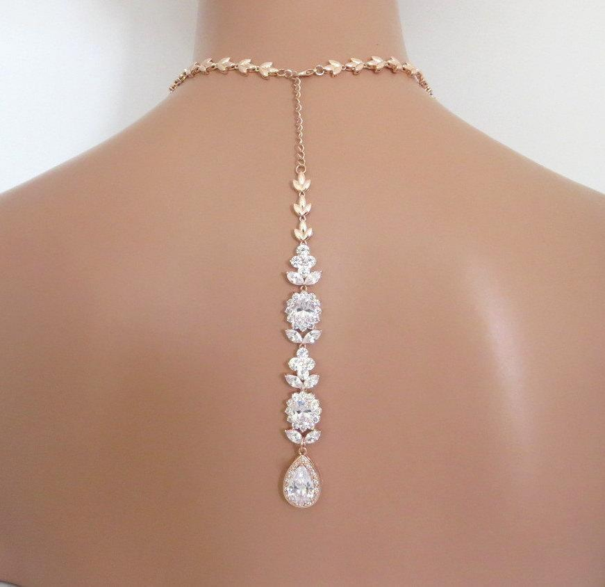 Backdrop bridal necklace rose gold back drop necklace for Back necklace for wedding dress
