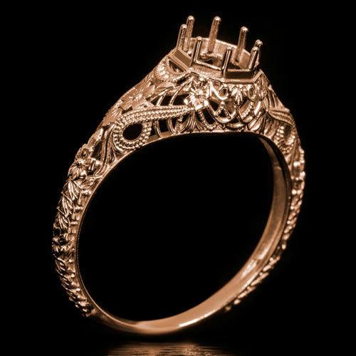 Hochzeit - Rose Gold Handcrafted Vintage Art Deco Engraved Filigree Milgrain Setting 14K Round Engagement Ring 6mm 6422-RG
