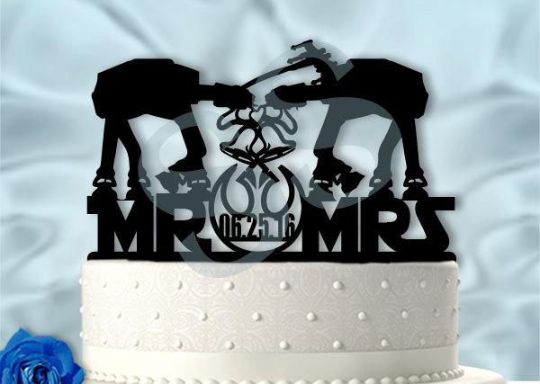 Mariage - Mr and Mrs Star Wars Imperial Walkers inspired Cake Topper