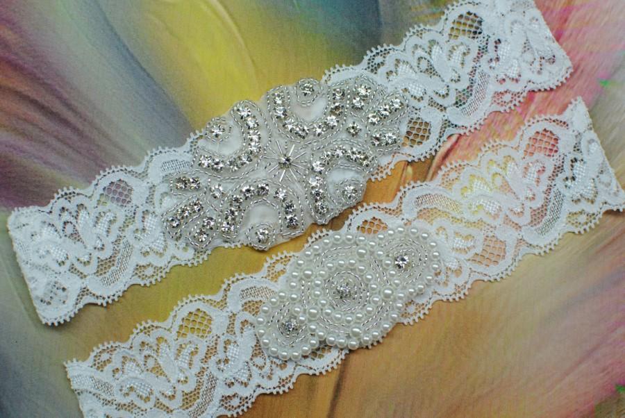 Wedding - Wedding Garter Lace Garter Bridal Garter Set  Rhinestone Crystal Bridal Garter Toss Garter and Keepsake Garder Rhinestone Garter Ivory Lace