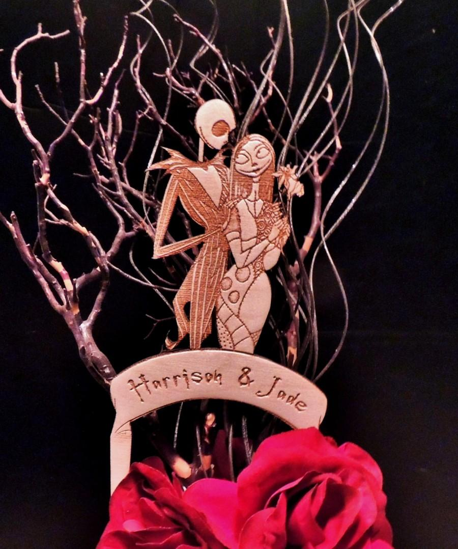 Mariage - Jack and Sally Wood Wedding Cake Topper