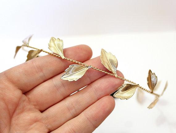 Wedding - Gold Leafs Wedding Hair, Bridal Hair Wreath, Golden Leaf Crown, Greek Goddess Headband, Hair Accessories, Gold Leaf Tiara, gift