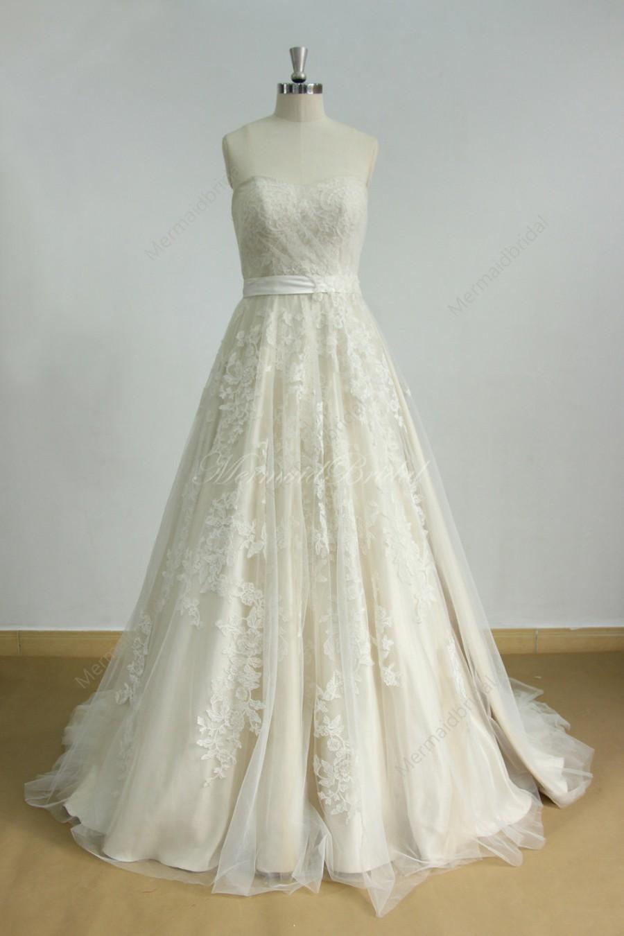 Mariage - Aline tulle lace wedding dress with light champagne lining