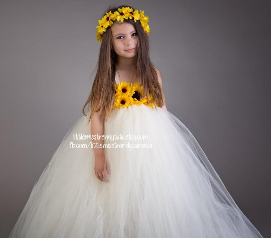 Ivory sunflower tutu dress sunflower tutu dress tutu dress with ivory sunflower tutu dress sunflower tutu dress tutu dress with sunflowers sunflower flower girl dress flower girl tutu dress tutu mightylinksfo