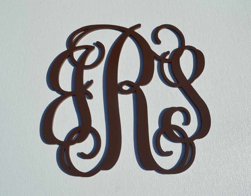 Mariage - 12'' Custom Wood Monogram in Vine Font, Wooden wall monogram,monogrammed letters, door wreath, photo prop