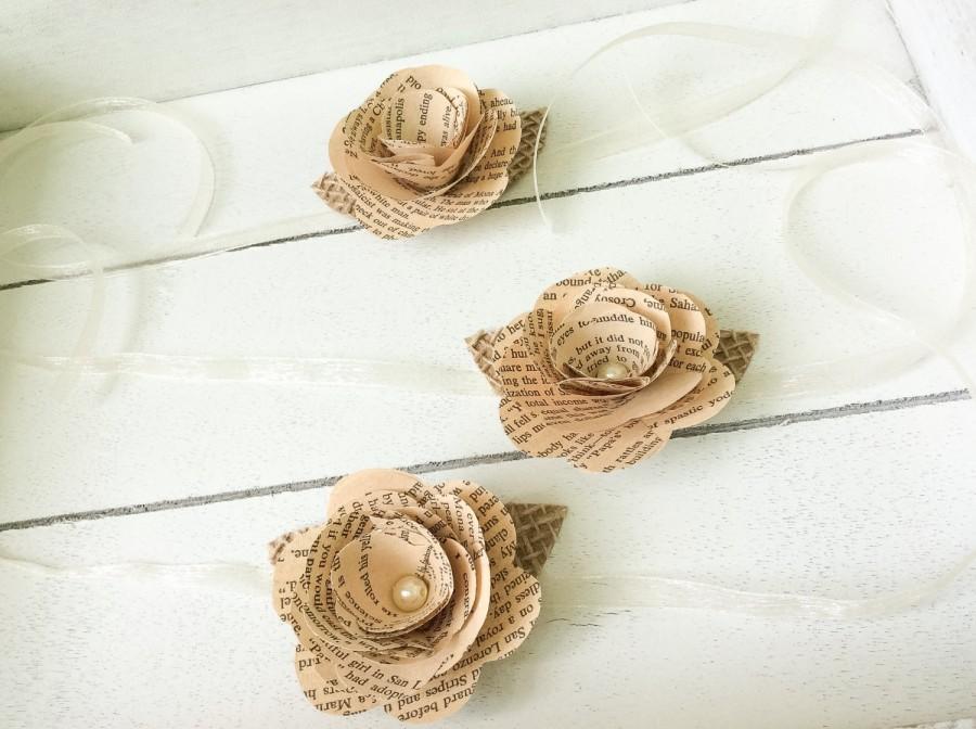 Hochzeit - Book Corsage- Wrist Corsage -Book Page Flower -Book Page Wrist Corsage-Rustic Wrist Corsage -Paper Rose -Eco Wedding (ITEM:TPG33)