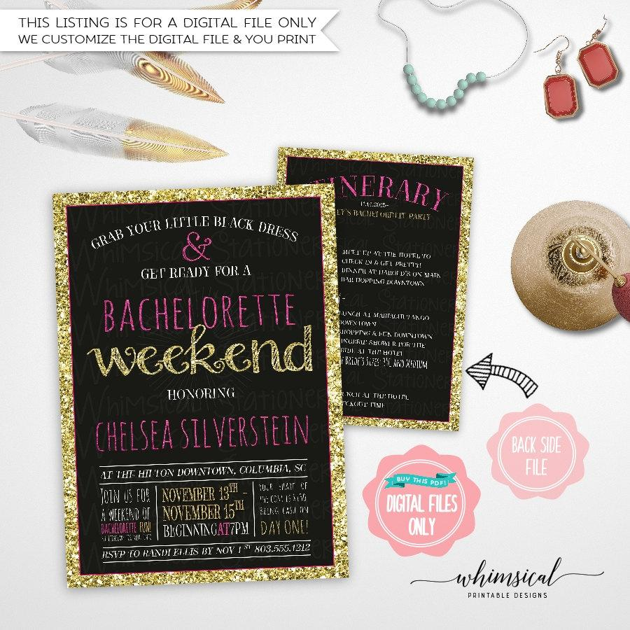 """Hochzeit - Bachelorette Weekend Invite & Itinerary """"Sparkle On Pink"""" (Printable File Only) Fling Pink Gold Faux-Glitter Bachelorette Invite Sparkle"""