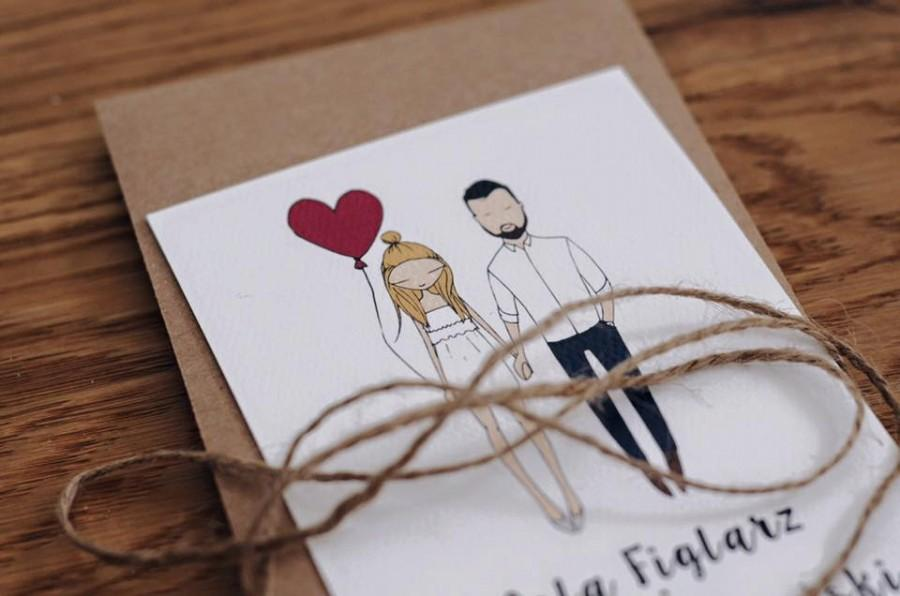 Mariage - Custom illustrated couple, Quirky wedding invitations, personalised wedding invitations, portrait illustration, bespoke invites