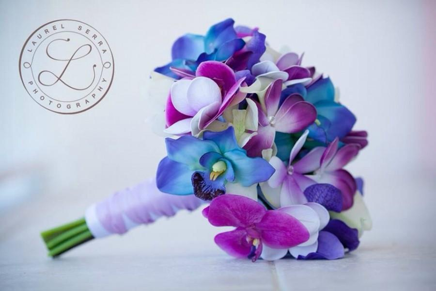 Свадьба - Blue Galaxy Orchid, Plumeria and Calla Lily Real Touch Bouquet in Blues, Purples and Violet