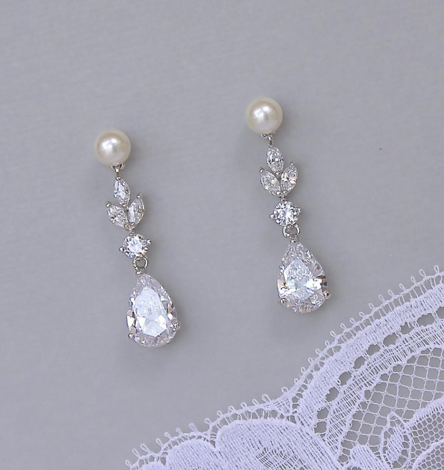 Hochzeit - Pearl Drop Crystal Earrings, Crystal Chandelier Bridal Earrings, Pearl Bridal Jewelry, Wedding Earrings, ASHLEY PP